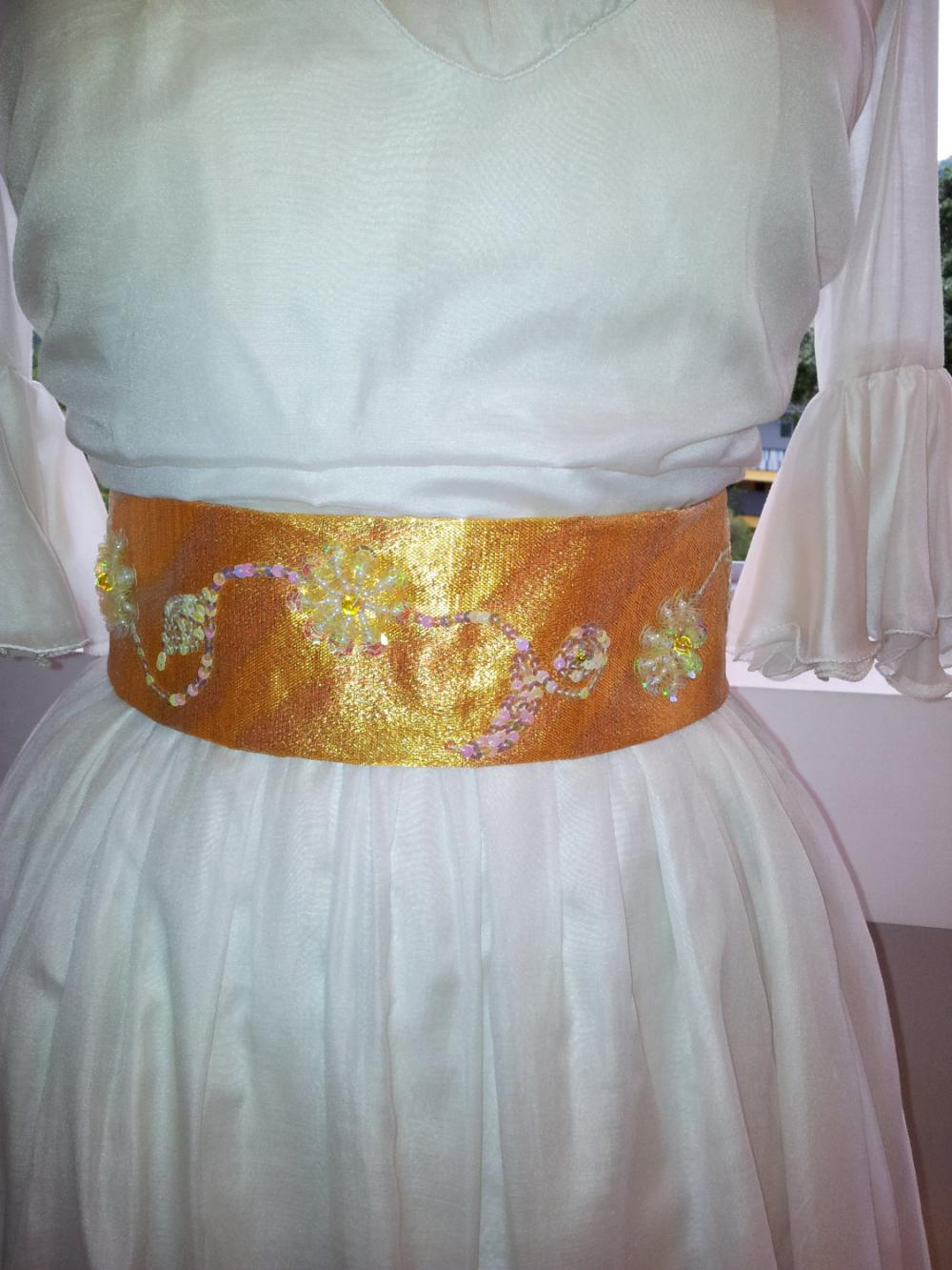 Gold Sash - Marie Antoinette Inspired with White Sequin Flowers