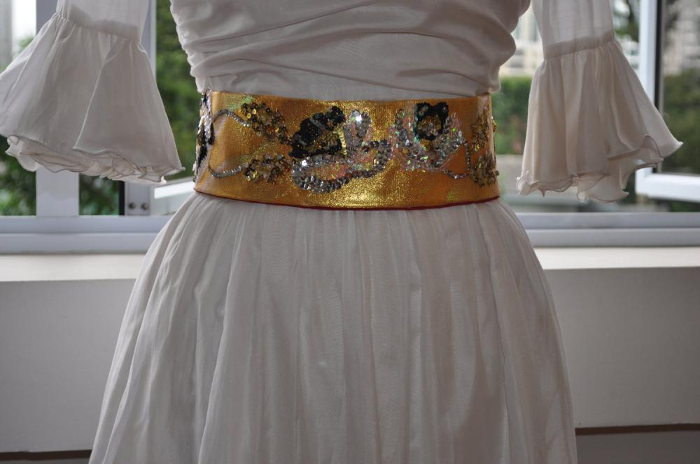 Sequin & Bead Sash - Silver Roses on Japan-Manufactured Gold Cloth Tied with Translucent Organza Ribbons